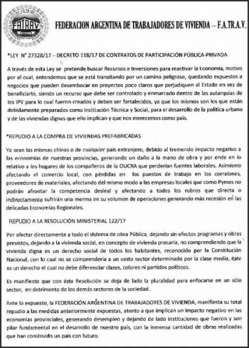 Edictos / Comunicados: FEDERACION ARGENTINA DE TRABAJADORES DE VIVIENDA