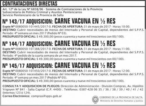 Compra Directa: Contratacion Directa N 143 a 145 SPPS MDHJ