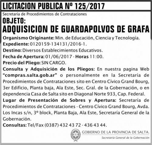 Licitación: Licitacion Publica 125 SGG MECT