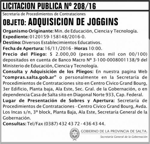 Licitación: Licitación Pública Nº 208/16