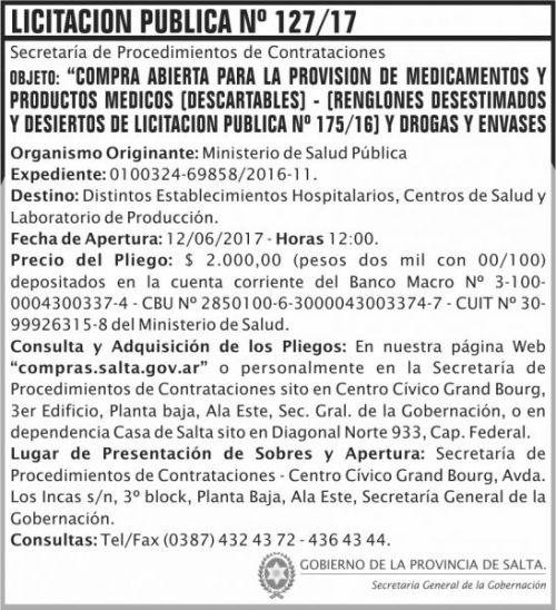 Licitación: Licitacion Publica 127/17 SGG MSP
