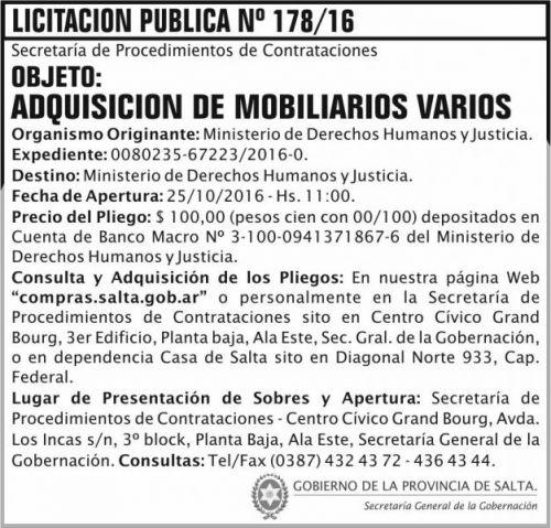 Licitación: Adquisición de mobiliarios varios