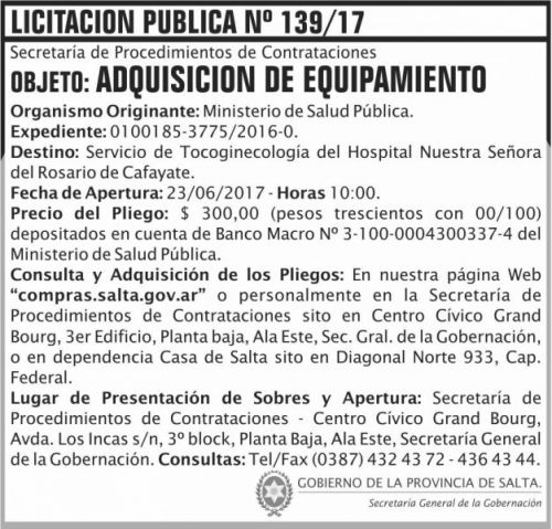 Licitación: Licitacion Publica 139 SGG MSP