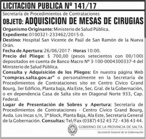 Licitación: Licitacion Publica 141 SGG MSP