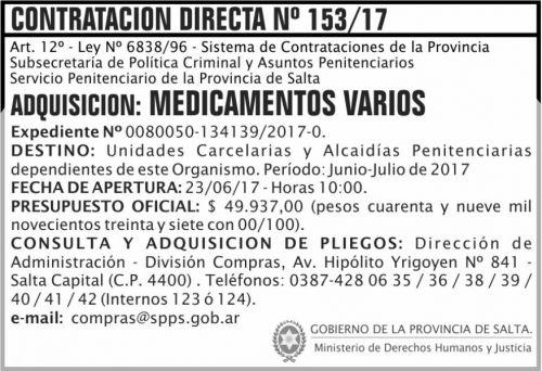 Compra Directa: Contratacion Directa 153 SPPS MDHJ