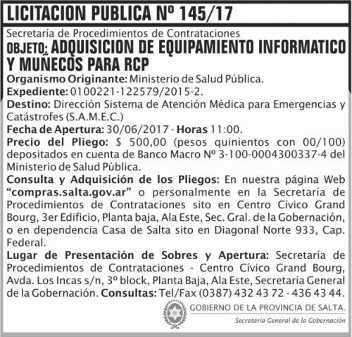 Licitación: Licitacion Publica 145 SGG MSP