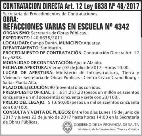 Compra Directa: Contratacion Directa 48 MITV