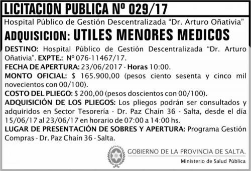 Licitación: Licitación Pública 29 MSP Oñativia