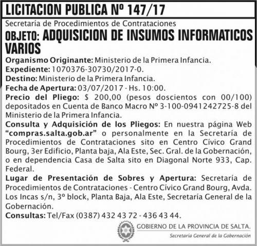 Licitación: Licitacion Publica 147 SGG MPI