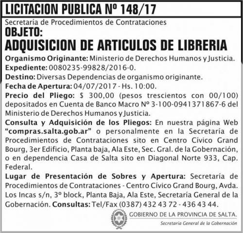 Licitación: Licitacion Publica 148 SGG MDHJ