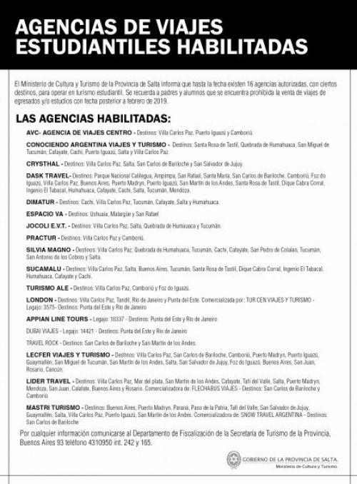 Edictos / Comunicados: AGENCIAS DE TURISMO