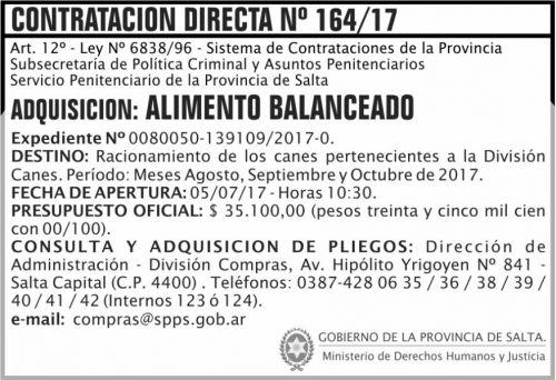 Compra Directa: Contratacion Directa 164 SPPS MDHJ
