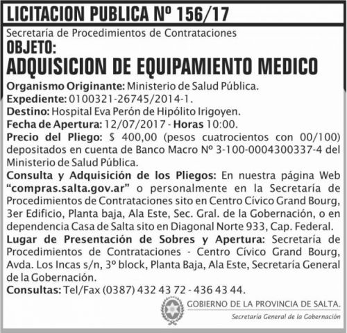 Licitación: Licitacion Publica 156 SGG MSP