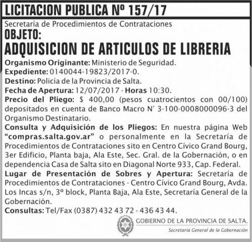 Licitación: Licitacion Publica 157 SGG MS