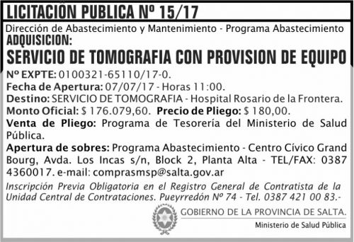 Licitación: Licitacion Publica 15 MSP