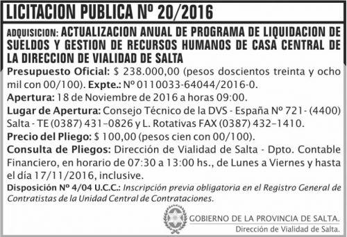 Licitación: Licitación Pública Nº 20/2016
