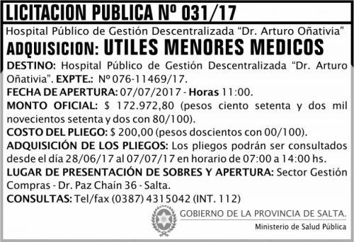 Licitación: Licitación Pública 31 MSP Oñativia