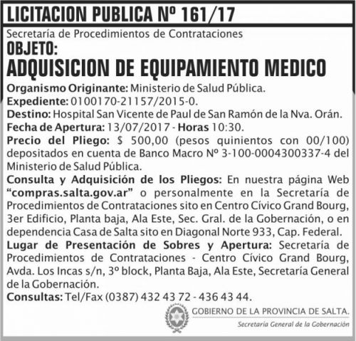 Licitación: Licitacion Publica 161 SGG MSP