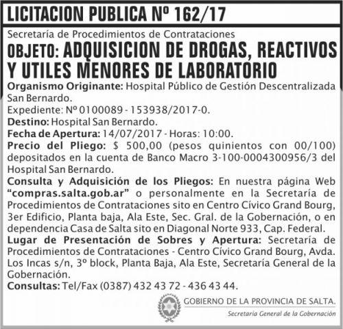 Licitación: Licitacion Publica 162 SGG SB