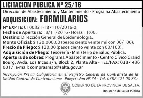 Licitación: Licitación Pública Nº 25/16