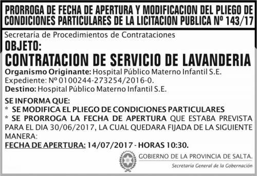 Licitación: PRORROGA Y PLIEGO Licitacion Publica 143 SGG MSP