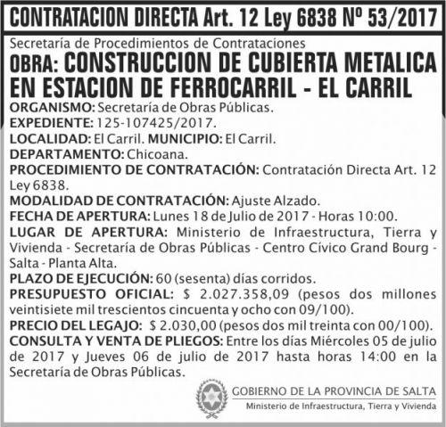 Compra Directa: Contratacion Directa 53 MITV