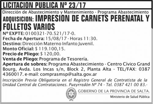 Licitación: Licitacion Publica 23 MSP