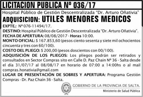 Licitación: Licitación Pública 36 MSP Oñativia
