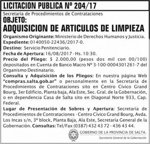 Licitación: Licitacion Publica 204 SGG MDHJ