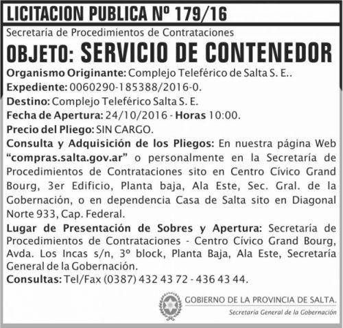 Licitación: Servicios de contenedor