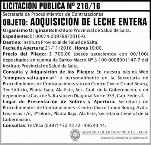 Licitación: Licitación Pública Nº 216/16