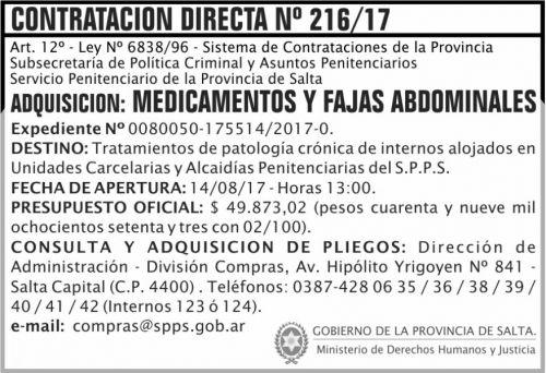 Compra Directa: Contratacion Directa 216 SPPS MDHJ