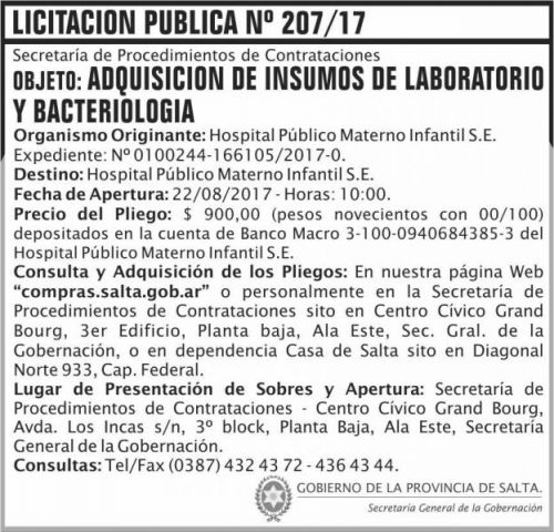 Licitación: Licitacion Publica 207 SGG HPMI
