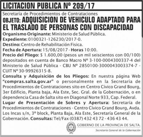 Licitación: Licitacion Publica 209 SGG MSP