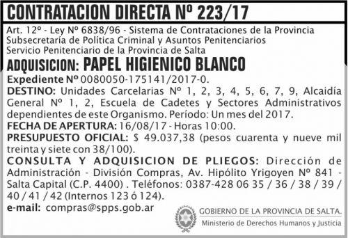 Compra Directa: Contratacion Directa 223 SPPS MDHJ