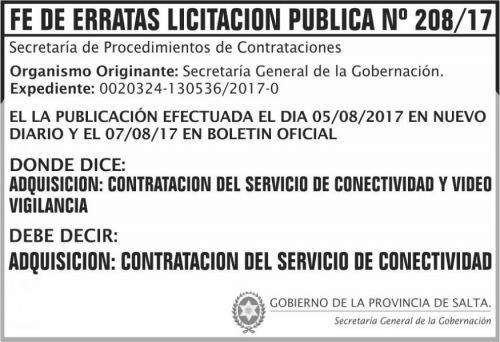 Licitación: Fe de Erratas Licitacion Publica 208 SGG