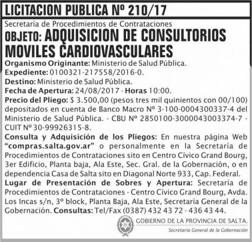Licitación: Licitacion Publica 210 SGG MSP