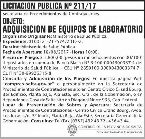 Licitación: Licitacion Publica 211 SGG MSP