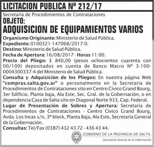 Licitación: Licitacion Publica 212 SGG MSP
