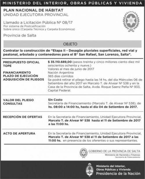 Licitación: LLAMADO A Licitacion Publica Nº 08 UEP MHF