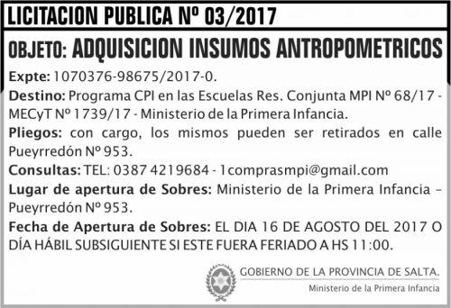 Licitación: Licitacion Publica 03 MPI