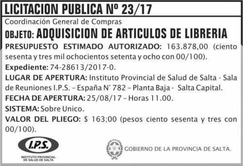 Licitación: Licitacion Publica 23 IPS
