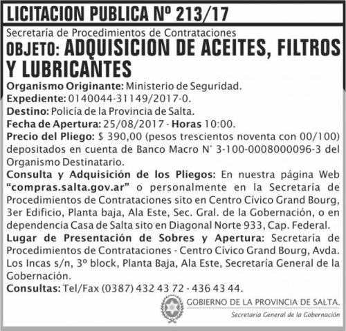 Licitación: Licitacion Publica 213 SGG MS