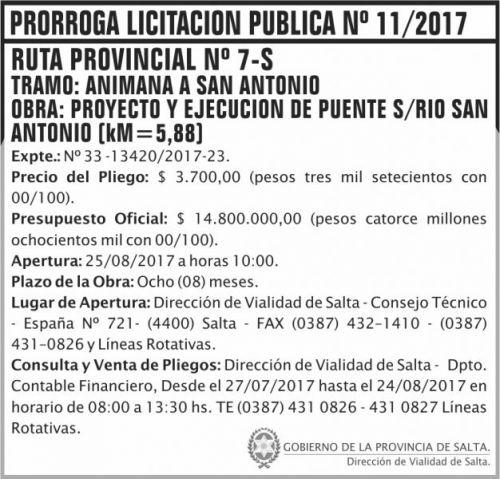 Licitación: PRORROGA Licitacion Publica 11 DVS