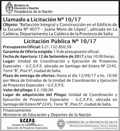 Licitación: Licitacion Publica 10 MEDN Ucepe