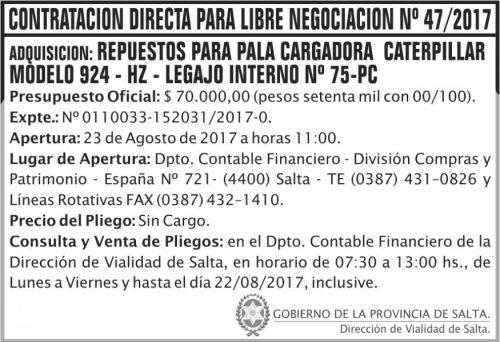 Compra Directa: Contratacion Directa libre negociacion 47 DVS
