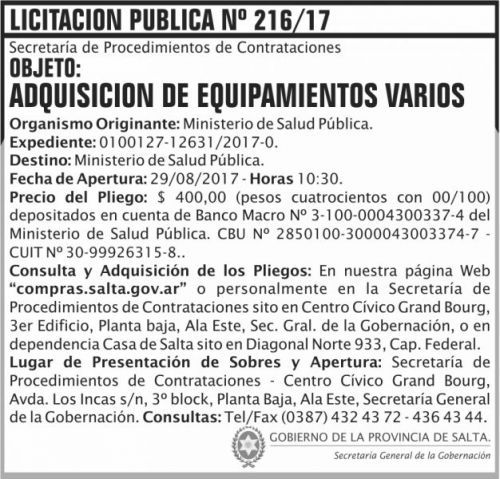 Licitación: Licitacion Publica 216 SGG MSP