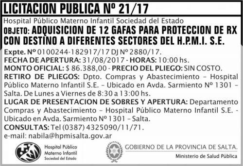 Licitación: Licitacion Publica 21 MSP HPMI