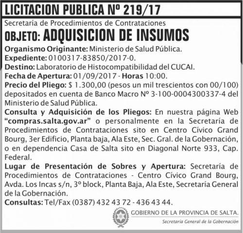 Licitación: Licitacion Publica 219 SGG MSP