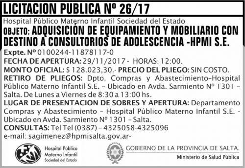 Licitación: Licitacion Publica 26 MSP